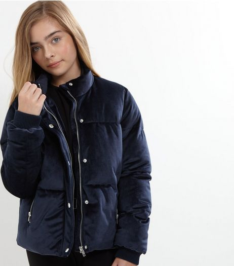 Teens Navy Velvet Puffer Jacket  | New Look