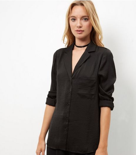 Black Sateen Single Pocket Pyjama Shirt  | New Look