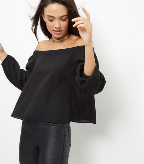 Black Bardot Neck Long Sleeve Top  | New Look