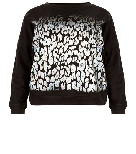 Curves Black Leopard Print Foil Sweater | New Look