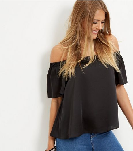 Black Sateen Bardot Neck Top  | New Look
