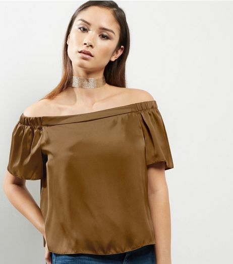 Olive Green Sateen Bardot Neck Top  | New Look