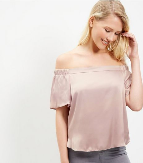 Mid Pink Sateen Bardot Neck Top  | New Look