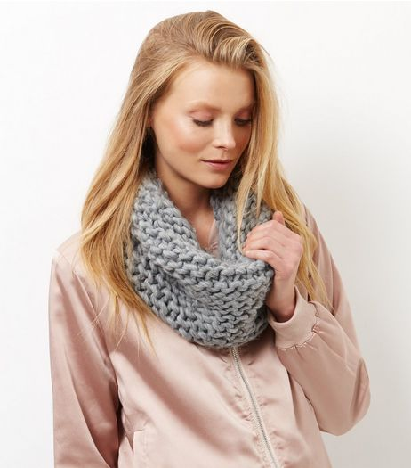 Dark Grey Knitted Snood | New Look