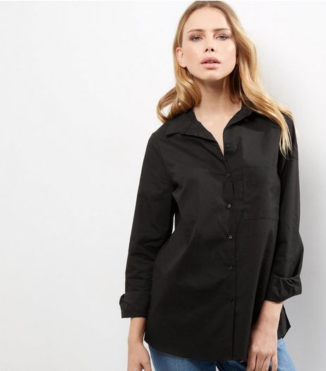 Black Single Pocket Stitch Trim Longline Shirt | New Look