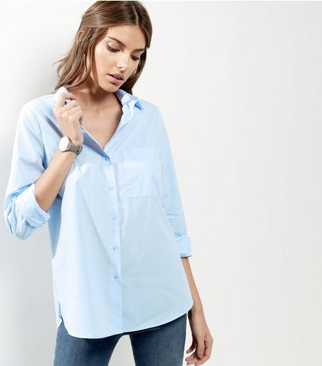 Pale Blue Single Pocket Stitch Trim Longline Shirt | New Look