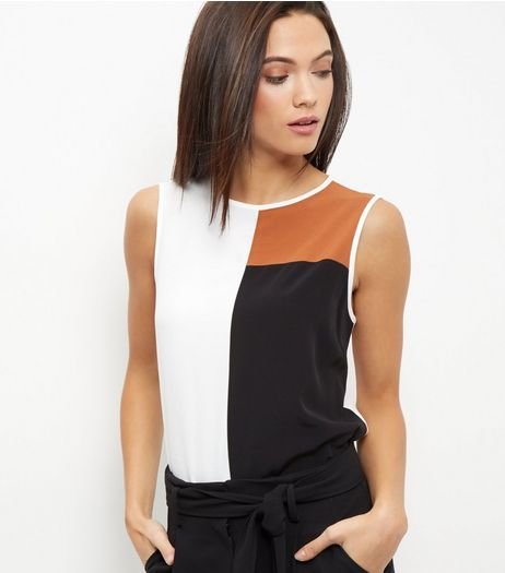 White Colour Block Vest  | New Look