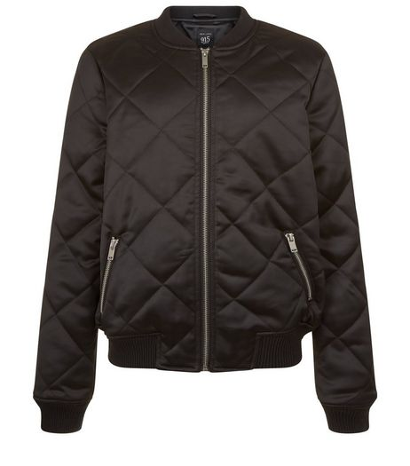 Teens Black Quilted Sateen Bomber Jacket | New Look