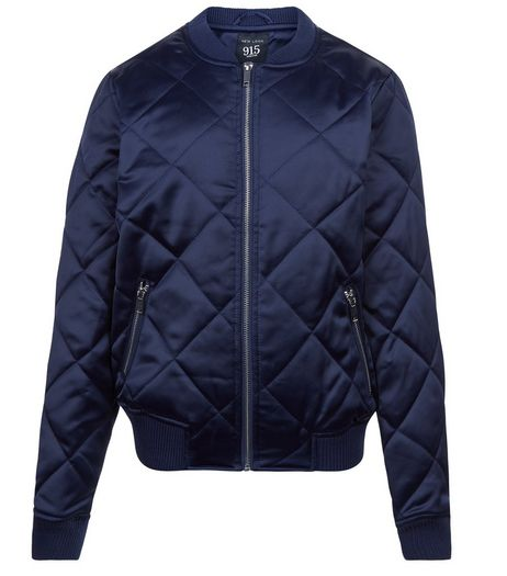 Teens Navy Quilted Sateen Bomber Jacket | New Look