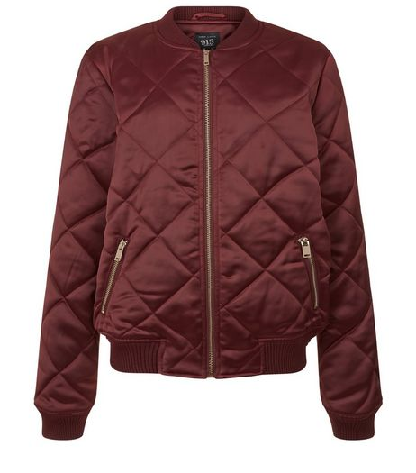 Teens Burgundy Sateen Quilted Bomber Jacket | New Look