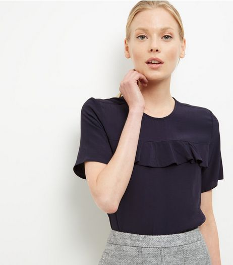 Navy Ruffle Trim T-Shirt  | New Look