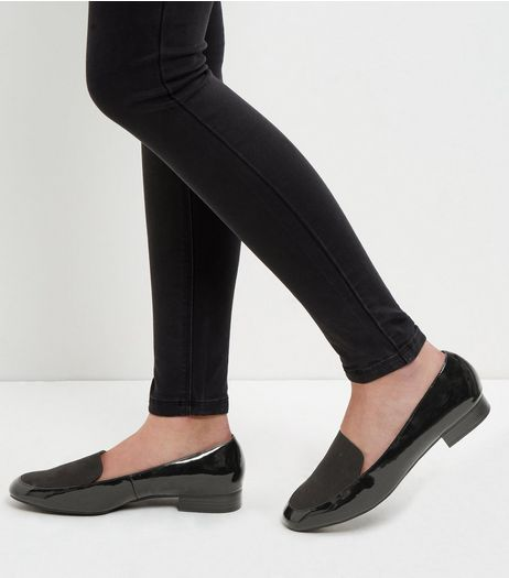 Wide Fit Black Contrast Loafers  | New Look