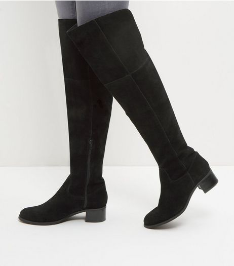 Black Suede Block Heel Knee High Boots | New Look