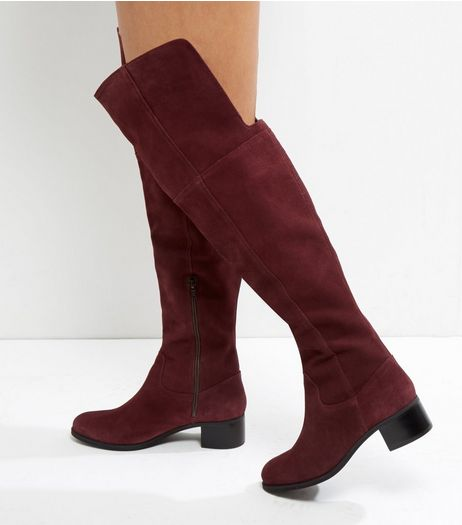 Dark Red Suede Block Heel Knee High Boots  | New Look