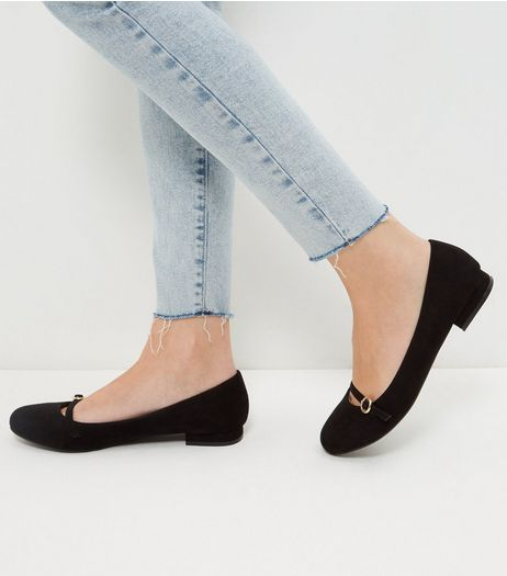 Wide Fit Black Suedette Buckle Strap Pumps  | New Look