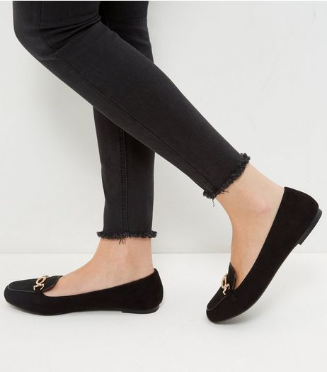 Wide Fit Black Comfort Metal Trim Loafers | New Look
