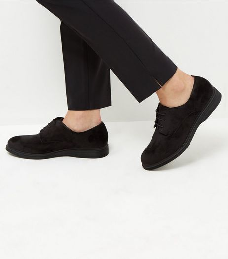 Wide Fit Black Velvet Chunky Brogues | New Look