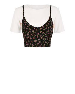 Cameo Rose Black Floral Print 2 in 1 Top | New Look