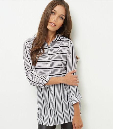 White Contrast Stripe Roll Sleeve Longline Shirt  | New Look