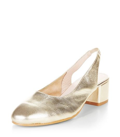 Gold Premium Leather Sling Back Court Shoes  | New Look