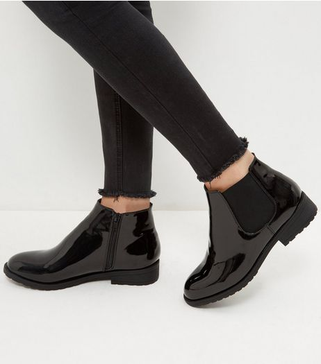 Wide Fit Black Patent Chelsea Boots | New Look