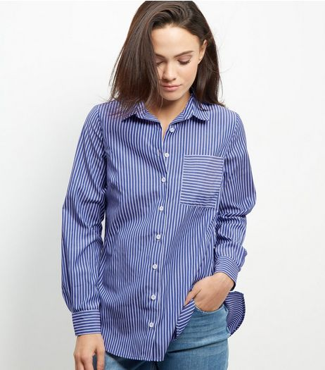 Blue Stripe Longline Shirt | New Look
