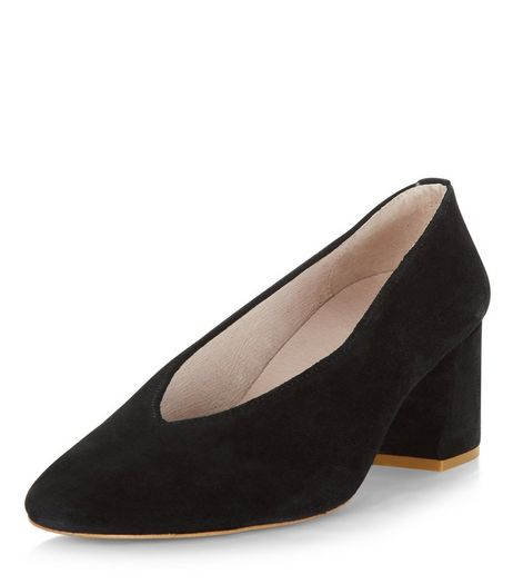 Black Premium Leather Flared Court Shoes  | New Look