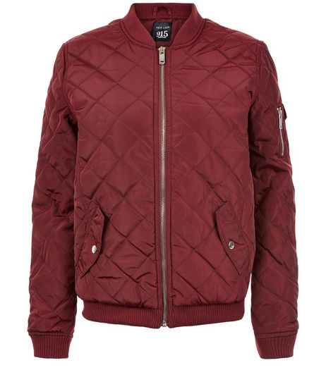 Teens Burgundy Quilted Bomber Jacket  | New Look