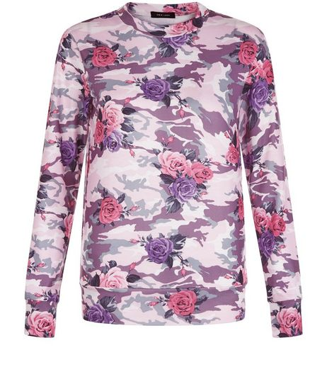 Pink Floral Camo Print Sweater | New Look