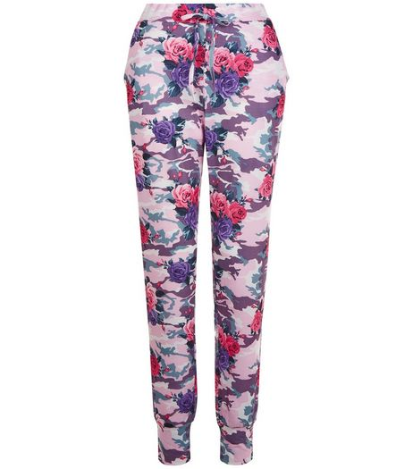 Pink Floral Camo Print Joggers | New Look