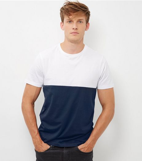 Blue Colour Block T-Shirt | New Look