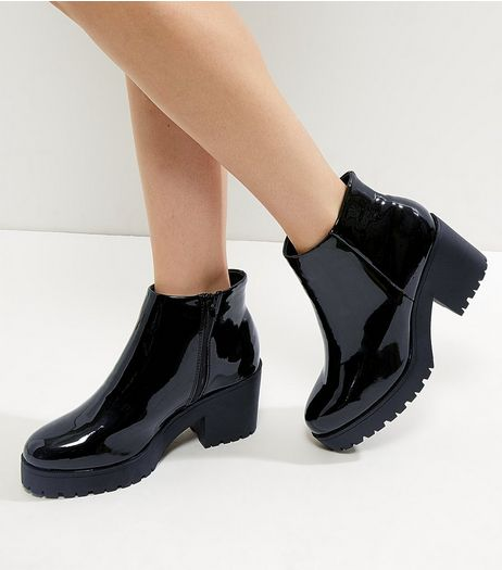 Wide Fit Black Patent Zip Side Chunky Boots | New Look