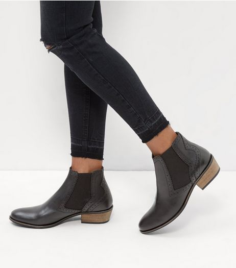 Black Leather Block Heel Embossed Trim Boots | New Look