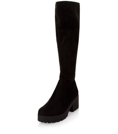 Teens Black Suedette Cleated Sole Knee High Boots | New Look