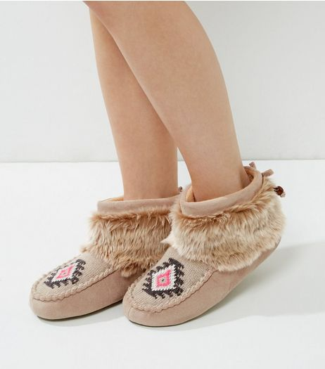 Brown Faux Fur Trim Mocasin Slipper Boots | New Look