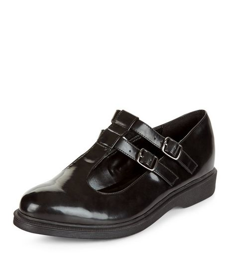 Black Chunky Double T-Bar Strap Shoes  | New Look