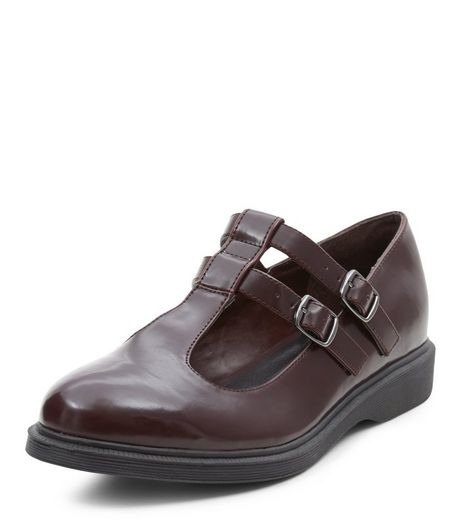 Burgundy Chunky Double T-Bar Strap Shoes  | New Look