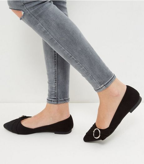 Wide Fit Black Ruched Buckle Front Shoes  | New Look