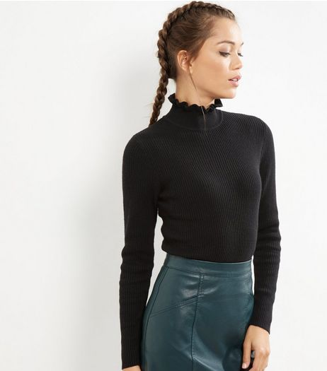 Black Frill Trim Funnel Neck Top | New Look