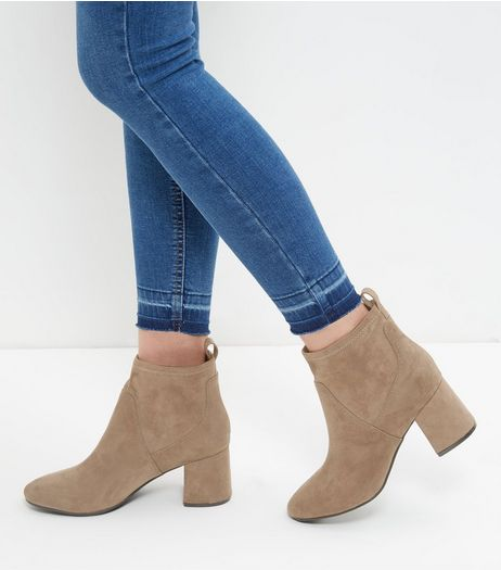 Mink Suedette Flared Block Heel Ankle Boots | New Look