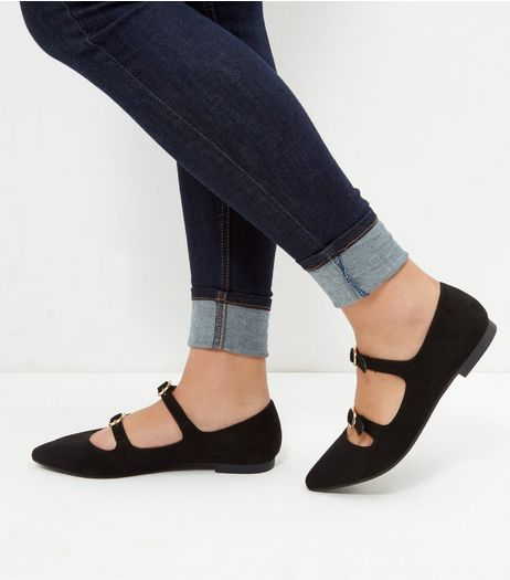 Wide Fit Black Double Strap Pointed Pumps | New Look