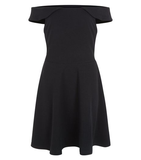 Teens Black Frill Bardot Neck Skater Dress | New Look