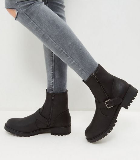 Wide Fit Black Double Buckle Biker Boots | New Look