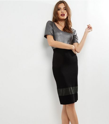 Black Mesh Panel Pencil Skirt | New Look