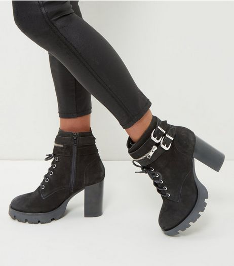 Black Leather Lace Up Platform Ankle Boots | New Look
