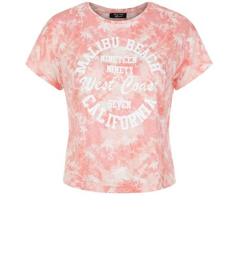 Teens Pink Malibu Beach Tie Dye Print T-Shirt | New Look