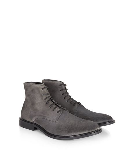 Dark Grey Suede Waxed Boots | New Look