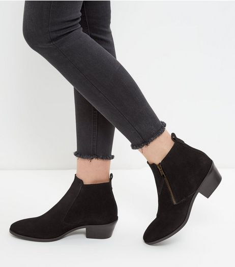 Black Suede Side Zip Western Boots | New Look