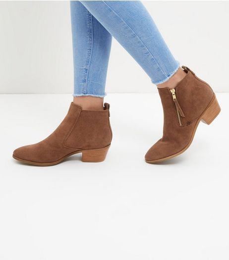 Brown Suede Side Zip Western Boots | New Look