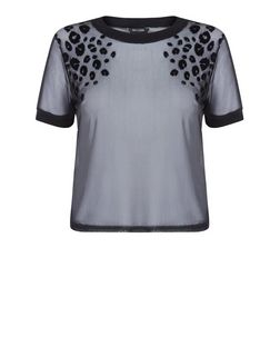 Teens Black Animal Print Mesh T-Shirt | New Look
